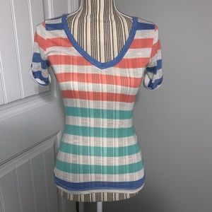 Color Story V-neck Striped Top size S